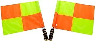 LIOOBO 2 Piezas de Fútbol Árbitro Bandera Deportes Partido Fútbol Juez de Línea Banderas Equipo de Árbitro (Amarillo)