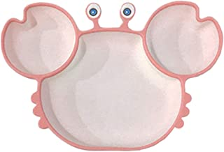 STOBOK Crab Suction Silicone Plate for Toddlers Self Feeding Training Storage Divided Bowl and Dishes for Baby and Kids Mi...
