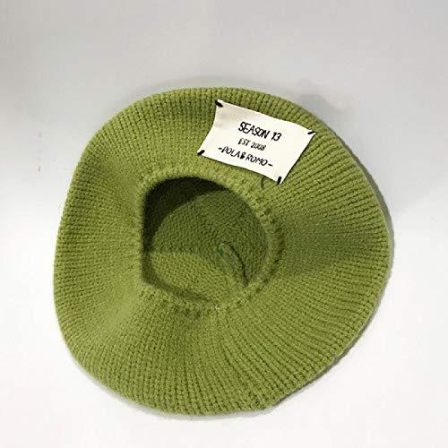 Sombrero De Diseñador Mujer Otoño E Invierno Letra Etiqueta De Tela Boina De Punto Gorra De Pintor Salvaje Japonés Sombrero De Paseo De Marea Francesa