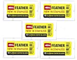 50 Feather Razor Blades Platinum Coated NEW Hi-Stainless for Double Edge Safety Razors (50 count) | Made in Japan