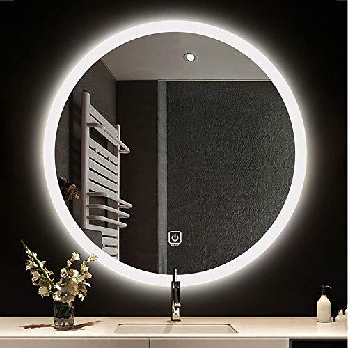 "BOLEN 24""Round Wall Mounted Light Mirror LED Bathroom Mirror Makeup Mirror Wall Mounted Mirror with Intelligent Touch 2 LED Lights (Wight Light, Warm Light)"