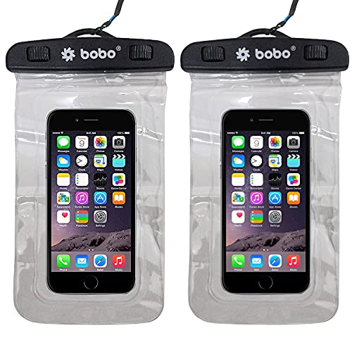 BOBO Universal Waterproof Pouch (XL 2021 Model) Cellphone Dry Bag Case for iPhone, Samsung, Pixel, Mi, Moto up to 7.0 inch – Transparent (Pack of 2)