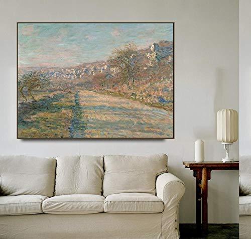 Carteles de Monet y murales de caligrafa impresos en lienzo, cuadros en lienzo sin marco para la decoracin del hogar en la sala de estar y el dormitorio P10 60x90cm