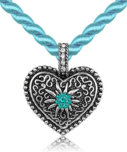 Kordel Halskette Mina mit Herz und Strass - Türkis