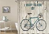 ZZZdz Graue Holzbretter. Blaues Fahrrad. Duschvorhang 3D Hd-Druck Verblasst Nicht 180X180 cm Wasserdichtes Gewebe 12 Freie Haken Hauptdekoration.
