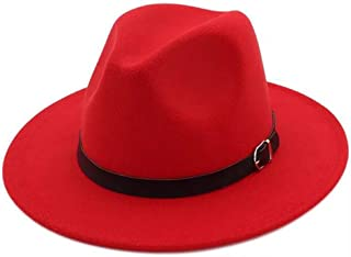 2ef17b1f3a4 Lanzom Women Retro Style Wide Brim Panama Hat Belt Buckle Wool Fedora Hat