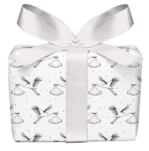 5er Set 5 Bögen Geschenkpapier zur Geburt STORCH MIT BABY WEIß Verpackung Geschenke Taufe Glückwunsch gedruckt auf PEFC zertifiziertem Papier, 50 x 70 cm