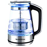 Electric Kettle, Glass Tea Kettle, 1500W Fast Heating Variable Temperature Control Water Boiler, 1.7L Cordless Water Heater with LED Indicator Light, Keep Warm, Shut-Off & Boil-Dry Protection