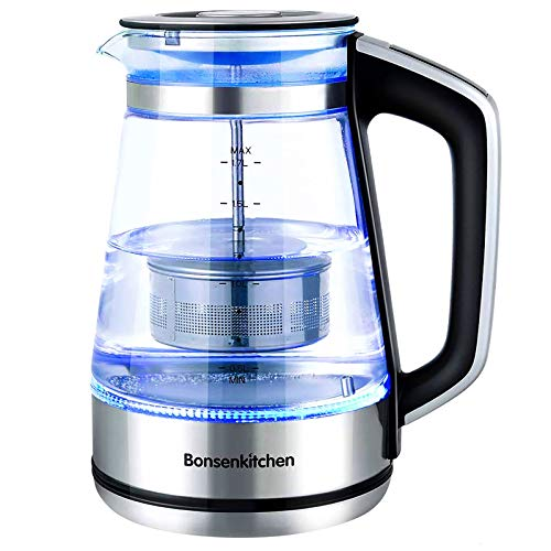 Electric Kettle, Bonsenkitchen Glass Tea Kettle, 1500W Fast Heating Variable Temperature Control Water Boiler, 1.7L Cordless Water Heater with LED Indicator Light, Keep Warm, Shut-Off & Boil-Dry Protection