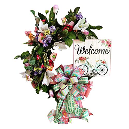 Easter Wreath Artificial Sunflower Hanging Wreath Welcom Sign Ornament Garland Spring Bumble Bee Wreath for Front Door, Flower Wreath Decoration for Home, Window, Wall, Wedding, Party Decoration