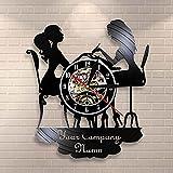 Reloj De Vinilo Para Mujer Hermoso Reloj De Vinilo Art Deco Hecho A Mano Reloj De Tiempo De Grabación De Fonógrafo,Pegatina Accesorios Para Salón De Uñas,Without led