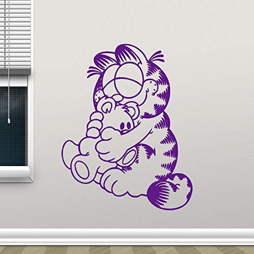 zhuziji Garfield Wandtattoo Cartoon Katze Kindergarten Kinder Schlafzimmer Selbstklebende Vinyl Wandaufkleber Steuern Dekor Wohnzimmer Dekor Wandbild 888-4 56X66 cm