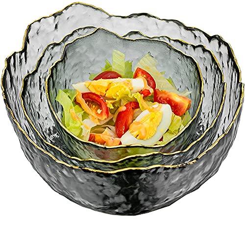 3 Pezzi Frutta Dessert Ciotola Di Vetro, Ciotole Per Insalata in Vetro , Ciotola in Vetro Trasparente, l'Insalatiera In Vetro è In Vetro Senza Piombo, Per Servire Insalate, Frutta e Dessert