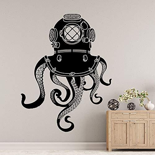 wZUN Octopus Tentakel Wandtattoo U-Boot Badezimmer Home Decoration Vinyl Aufkleber Meerestier Meer Monster Kunst 42X54cm
