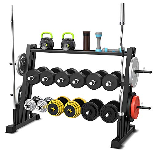 3 Tier Dumbbell Rack for Home Gym, Dual Vertical Bar Rack All in One Dumbbell Rack Athletic Supply Set Storage Rack Holds Up to 1322 LB for Home Workout Gym Storage Stand