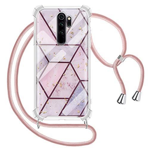 Genrics Handykette Hülle für Xiaomi Redmi Note 8 Pro, Marmor Glitzer Necklace Hülle mit Kordel Transparent Silikon Handyhülle mit Kordel zum Umhängen Schutzhülle mit Band in Roségold