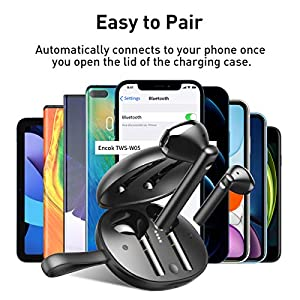 Baseus W05 Wireless Earbuds Bluetooth Headphones Touch Control 30Hrs in-Ear Waterproof Built-in Mic Headset TWS Stereo Microphone Earphones with USB-C Wireless Charging Case Black