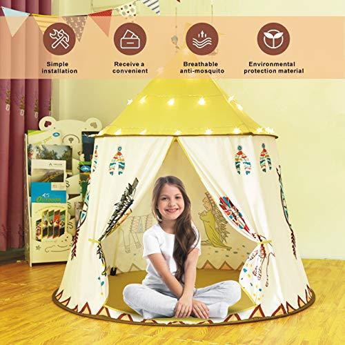 Gupamiga Spielhaus Spielzelt Kinderzelt Tipi Zelt für Kinder Pop Up Klappspielzeug für für Kleinkinder Mädchen Jungen Indoor & Outdoor