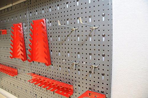 Dreiteilige Werkzeuglochwand aus Metall mit 14tlg. Hakenset, ca. 120 x 60 x 1 cm - 4