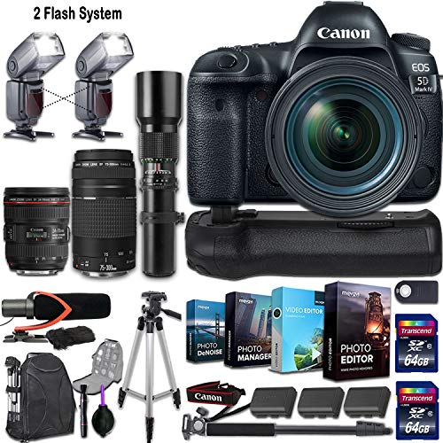 Great Price! Canon EOS 5D Mark IV DSLR Camera w/ 3 Lenses (Canon EF 24-70mm f/4L is USM, Canon EF 75-300mm f/4-5.6 III & 500mm Manual Preset) + 2 Flash System and Deluxe Accessory Kit