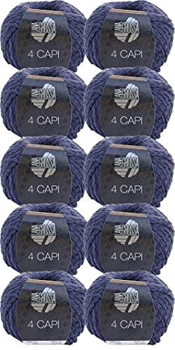 Lana Grossa 4 Capi - Gomitolo di lana da 500 g, colore 08 blu marino, confezione da 10 x 50 g, per lavorare a maglia o all'uncinetto