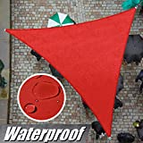 ColourTree 12' x 12' x 12' Red Triangle Waterproof Sun Shade Sail Canopy Awning...