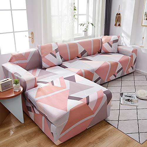 Funda de sofá de Envoltura Ajustada geométrica Funda de sofá elástica Necesita Pedir Funda de sofá de 2 Piezas Si sofá de Esquina Estilo L A13 2 plazas