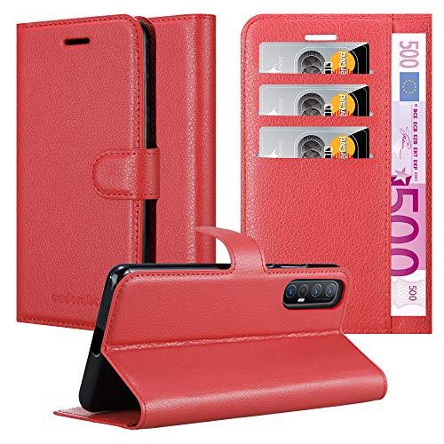 Cadorabo Hülle für Oppo Find X2 neo in Karmin ROT - Handyhülle mit Magnetverschluss, Standfunktion & Kartenfach - Hülle Cover Schutzhülle Etui Tasche Book Klapp Style