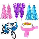 3 par de Niños Serpentinas de Bicicleta + Timbre para Manillar de Bici,Bicicleta Manillar Cintas Niños Scooter Borlas,Bike Handlebar Streamers para Niñas Niños (Rosa y Azul, Púrpura)