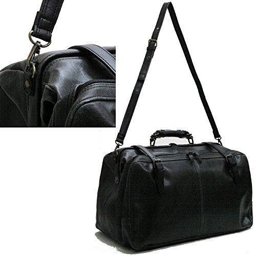 かばん 旅行カバン ボストンバッグ 職人が丁寧に丹精込めて製作した物です 使えるバッグ レトロアウトポケットダレスボストン本革付属 トラベルバッグ ブラック(黒)