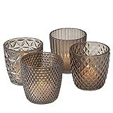 Boltze Windlicht-Set Marilu 4 TLG. Deko H 8 cm Glas lackiert grau Teelicht-Set