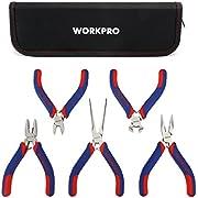 WORKPRO W001305 Mini Precision Pliers Set Jewelry Plier Set 5-Piece