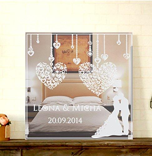 GRAVURZEILE Motivspiegel Zur Hochzeit mit Gravur Wanddeko & Wanddekoration Spiegel mit Gravur schönes Geschenk zur Hochzeit & Hochzeitstag - Personalisierbar Größe 30 x 30 cm