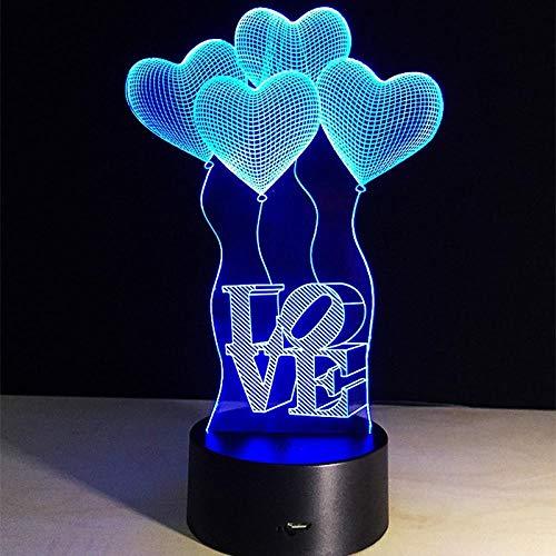 Lámpara de ilusión óptica LED 3D, colores cambiantes de toque de Navidad, Halloween, luz ambiental, base ABS, alimentada por USB, ahorro de energía, adecuado para sala de estar, bar, fiesta