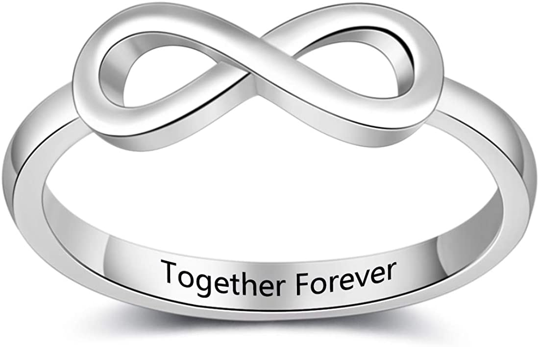 Personalized Infinity Forever Love Ring for Women Mother Promise Rings for Her Custom Sisters Best Friends Rings Engagement Wedding Bands Custom Infinity Forever Love Knot Stacking Ring Women Jewelry Ring Gift for Valentine's Thanksgiving Christmas Day