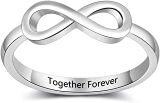 Fortheday Personalized Infinity Knot Rings for Women Friendship Rings for 2 Best Friends Rings Promise Rings for Her Engagement Wedding Bands