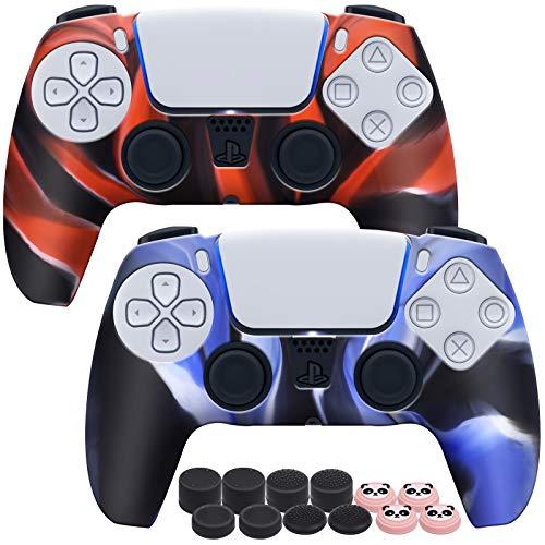 EZCO PlayVital PS5 Controller Hülle 2 Stück, Silikon Schutzhüllen Zubehör für Playstation 5 Controller hülle mit 12 Schutzkappen für Ps5 Sticks Kappen