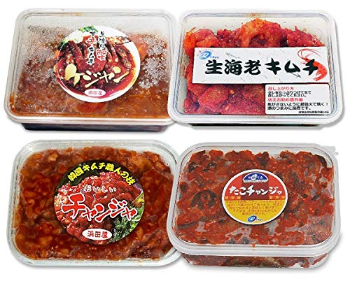 【合計2kg】海鮮キムチ4点セット(渡り蟹ケジャン甘口500g・チャンジャ500g・手長タコキムチ辛口500g・焼いても美味しい海老キムチ500g)合計約2kg