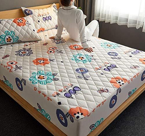 Ultra Suave Protector de Colchón,Colchón de cama, almohadilla suave y gruesa, protector de colchón impermeable acolchado, cubierta de estilo de sábana ajustable para cama Comfort-H_150x200cm+30cm
