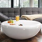 SalesFever Couch-Tisch weiß Hochglanz rund aus Fiberglas Durchmesser 100 cm | Trisk | Super-Stylischer Wohnzimmer-Tisch im Retro-Design Glas Weiss 100 cm x 38 cm