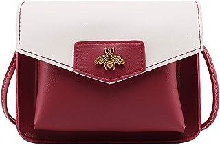 Wultia - Shoulder Bag Women Contrast Laminated Single Shoulder Bag Messenger Bag bolso Mujer *0.92 RED