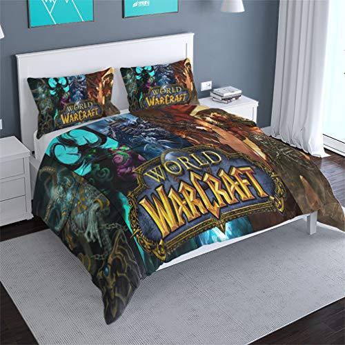 MXSS World of Warcraft Bettwäsche-Set, 2/3-teilig, Bettbezug und Kissenbezüge, mit 1 Bettdecke, 1/2 Kissenbezüge (Warcraf1,200 x 200 cm)