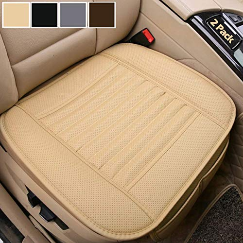 Big Ant 2 Pack Car Seat Cushion, Breathable Car Interior Seat Cover Cushion Pad Mat for Auto Supplies Office Chair with PU Leather(Beige)