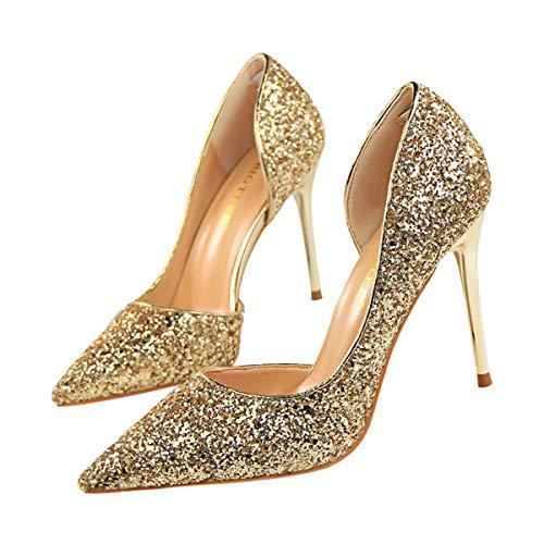 JOEupin Zapatos de tacón alto de aguja para mujer, sexy, semivacío, para...
