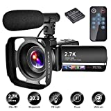 Camescope Camescope Numerique 2,7K Camescope Full HD 30MP Caméscope 18X Camescope avec Microphone et Lentille Capuche