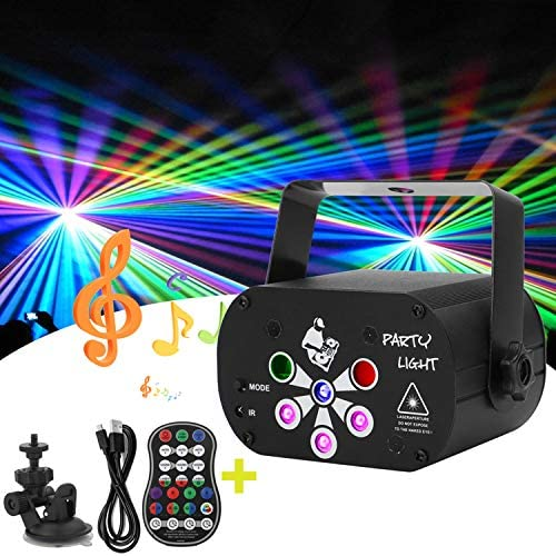 Laser Stage Lights 6 Lens DJ Disco Party Light Sound Activated RGB Led Projector Flash Strobe product image