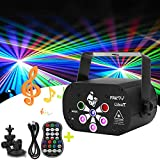 Laser Stage Lights, 6 Lens DJ Disco Party Light, Sound Activated RGB Led Projector, Flash Strobe Light With Remote Control for Christmas Halloween Decorations Birthday Wedding KTV Bar (Black)