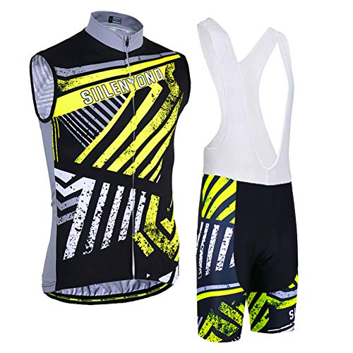 TZTED Ciclismo Maillot Hombres Jersey + Pantalones Cortos Culote Sin Mangasde Ciclismo...