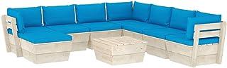 vidaXL Madera de Abeto Muebles de Jardín de Palets 9 Piezas y Cojines Exterior Terraza Casa Cocina Mobiliario Mesa Asiento Silla Suave con Respaldo