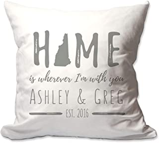 Pattern Pop Personalized New Hampshire Home is Wherever I'm with You Throw Pillow Cover - 17 X 17 Throw Pillow Cover (NO Insert) - Decorative Throw Pillow Cover - Soft Polyester